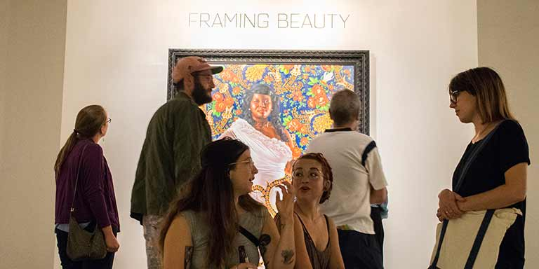 Framing beauty exhibit at an art gallery
